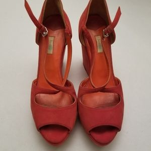 Boden Fire Red Suede Peeptoe Wedges, 39